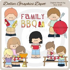 Family BBQ Clip Art, by Alice Smith - Only $1.00 at www.DollarGraphicsDepot.com : Great for printable crafts, scrapbook pages, web graphics, greeting cards, invitations, recipe cards, candy bar wrappers, printable photo frames, and lots more!