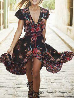 New Sukibandra Summer Vintage Maxi Long Women Floral Print Dress Boho Chic Ethnic Retro Bohemian Dress Hippie Chic Beach Vestidos Boho Summer Dresses, Hippie Dresses, Sexy Dresses, Casual Dresses, Dress Summer, Beach Dresses, Vacation Dresses, Dress Beach, Bohemian Summer