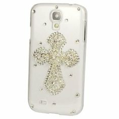 The White Cross Jesus Crystal Diamond Hard Case Cover for Samsung Galaxy S4 I9500