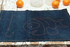 Denim 2 pieces napkin set , handmade napkin set , fish , ocean , Nemo fish , clown fish , denim serviette , table serviette , fun napkins by SecondBirthday on Etsy
