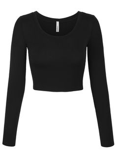 Womens Long Sleeve Basic Crop Top Round Neck with Stretch Cropped Tops, Cute Crop Tops, Black Crop Tops, Black Long Sleeve Shirt, Long Sleeve Shirts, Long Sleeve Crop Tops, Cute Black Shirts, Mode Sombre, Jugend Mode Outfits
