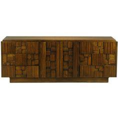 Block Front Dresser In Patch Work Walnut