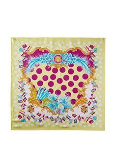 Versace Women's Polka Dot Silk Scarf, Yellow/Aqua/Purple