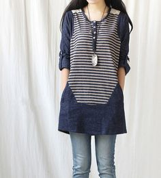 If I had this I'd never take it off and it would start to smell :P Spring denim dress/tunic blouse long shirt dress by MaLieb