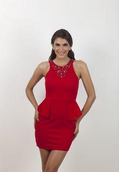 Vestido peplum negro y rojo. | G&B Boutique On Line