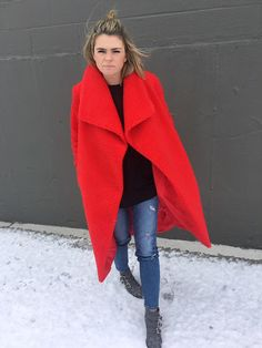 THE teddy coat, red teddy coat, red cozy blanket like coat, purple sense sunglasses, Chloe Susanna boots, ankle boots, gray and studded ankle boots, oversize coat, quilted bag,
