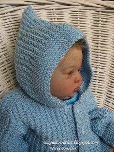 Magia do Crochet: Casaco em tricot com capuz para bebé