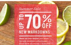 Summer Sale Up To 70% Off New Markdowns. Save on our latest just-went-on-sale summer collections. Find them all online + in stores now.