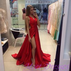 2016 New Arrival Long Red Prom Dresses  A-Line V-Neck Sleeveless Prom Party Dress Slit Formal Gowns - Thumbnail 2