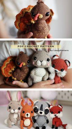 CROCHET toys pdf tutorial by LoopyPattern. Amigurumi fox , crochet turkey , rabbit toy, squirrel tutorial. How crochet raccoon , fox pattern
