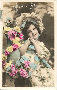 Shy girl, cute girl photo, white bonnet, blue ribbons, floral print dress, French vintage, blue pink yellow, French postcard  (rppc/ch181)