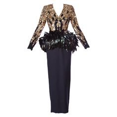 Amen Wardy Vintage 1980s 80s Metallic Gold Sequin + Feather Peplum Dress | From a collection of rare vintage day dresses at https://www.1stdibs.com/fashion/clothing/day-dresses/