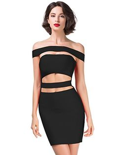 Alice  Elmer Womens Rayon Sleeveless Strapless Word Shoulder Bodycon Bandage Dress Black M *** Want additional info? Click on the image.