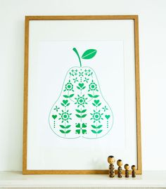 Nice Pear  Bright Green Pear Print Artwork A2 by RockVillaDesigns, £35.00