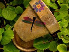Metallic Dragonfly Hand Painted Flower Pot by HappyMooseGardenArt