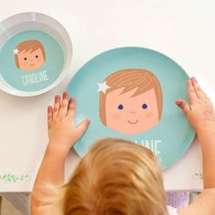 Personalized plates for kids fun products that picky eaters as personalized childrens plate girl face negle Images