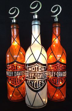 Harley+Davidson+Motor+Cycles+Wine+Bottle+of+by+BottleOfLights,+$35.00