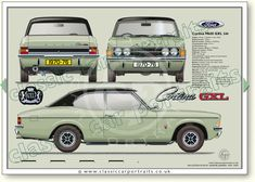 Ford Cortina Mk3 GLX 2000 2dr1970-76 classic sports car portrait print