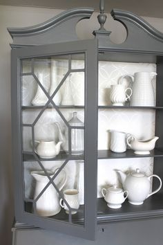 """paint and """"stencil"""" with a paint pen for your hutch. Could also do the leaded glass with rub-n-buff to get rid of the """"cheap"""" color"""