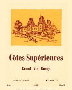 Wine Labels -  Cotes Superieures Grand Vin Rouge #cOrange #cCreams