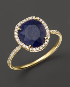 Meira T 14K Yellow Gold Blue Sapphire Ring with Diamonds, .20 ct. t.w.