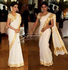 Asin in white Kerala Saree ~ White And Gold Saree, White Sari, White Gold, Kerala Saree, Indian Sarees, Kerala Traditional Saree, Set Saree, Kasavu Saree, Simple Sarees