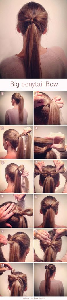 Easy Hairstyles for Work - Big Ponytail Bow - Quick and Easy Hairstyles For The Lazy Girl. Great Ideas For Medium Hair, Long Hair, Short Hair, The Undo and Shoulder Length Hair. DIY And Step By Step - https://thegoddess.com/easy-hairstyles-for-work