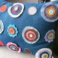Decorative Pillow- Wool Flowers on Blue Denim, shabby chic, cushion, throw pillow, embroidery