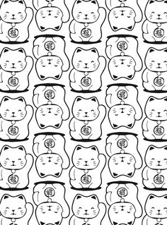 Neko Lucky Cat Coloring pages colouring adult detailed advanced printable Kleuren voor volwassenen coloriage pour adulte anti-stress kleurplaat voor volwassenen Line Art Black and White Welcome to Dover Publications