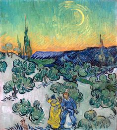 Couple Walking Among Olive Trees in a Mountainous Landscape with Crescent Moon by Vincent van Gogh