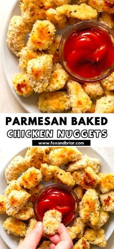 These Parmesan Baked Chicken Nuggets are easy, kid friendly and delicious!