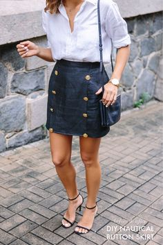 BEFORE & AFTER: THE NAUTICAL BUTTON SKIRT. See my diy on https://sonjadurand.com/2016/05/05/the-buttoned-skirt/