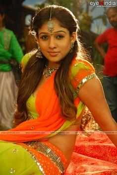 Nayanthara wearing a green and orange saree Bollywood Indian Actresses https://poshmark.com/closet/haveheartdailys