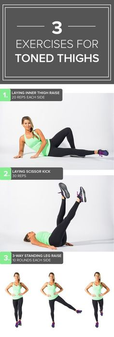 exercises for toned thighs (no squats or lunges!) Try this quick and easy toning workout to target your inner thighs.Try this quick and easy toning workout to target your inner thighs. Fitness Hacks, Fitness Workouts, Lower Ab Workouts, Sport Fitness, Toning Workouts, Body Fitness, Easy Workouts, At Home Workouts, Fitness Motivation