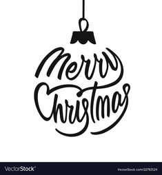 Merry christmas holiday card with lettering vector image on VectorStock Merry Christmas Family, Christmas Svg, Christmas Balls, Christmas Holidays, Xmas Cards, Holiday Cards, Cricut, Hand Lettering Alphabet, Christmas Illustration