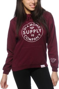 8907443e Diamond Supply Co. Stamped Burgundy Hoodie Diamond Supply Co, Fleece Hoodie,  Style Guides