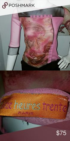 Pink Sheer w lining top...This top may fit up to size 8. It jas a lot of give. Tops Blouses