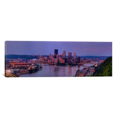 "East Urban Home Panoramic 'Pittsburgh from the West End at Sunset, 2009, Pittsburgh, Pennsylvania' Photographic Print on Canvas Size: 20"" H x 60"" W..."