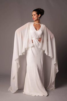 Capes, Simple Gowns, Space Fashion, Bridal Cape, Textiles, Queen, Complete Outfits, Wedding Party Dresses, Bridal Looks