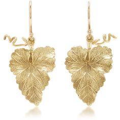 Annette Ferdinandsen     Hanging Grape Leaf Earrings (£925) ❤ liked on Polyvore featuring jewelry, earrings, gold, yellow gold charms, leaf earrings, earring charms, gold leaf charm and earring jewelry