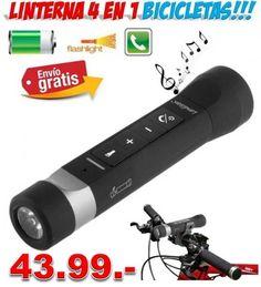 #accesorios #bicicletas #linternas #luces #focos #deportes #compras #ofertas #descuentos #yougamebay Linterna luz LED 4 en 1 para bicicletas. Incluye cargador bateria móviles Smartphone, manos libres bluetooth, altavoces, linterna.  http://www.yougamebay.com/es/product/linterna-bicicleta-4-en-1-cargador-moviles--linterna--bluetooth