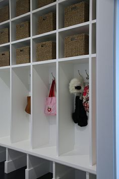 "Like the open cubbies, but maybe add some cabinet doors on way top, and more cubbies instead of hooks/""locker"" sections... LOVE the open space for shoes under the bottom! Maybe leave one ""locker"" section with hook and sit down...Would love to fit in deep drawers somehow too"