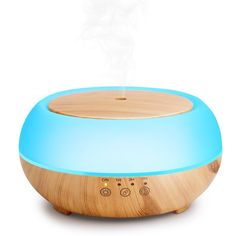 Simway Touch Button Essential Oil Diffuser 300mL, Aromatherapy Diffuser Humidifier with Ultrasonic Cool Mist and 7 LED lights Waterless Auto Shut-off Function - Wood Grain (Light Brown) * Read more  at the image link. (This is an affiliate link and I receive a commission for the sales)