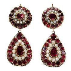 Image result for garnet antique earrings