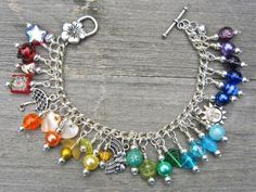 Rainbow charm bracelet  colourful charm bracelet by WychwoodDreams, £15.00