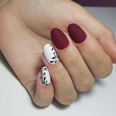 Autumn nails with a pattern, Beautiful autumn nails, Burgundy nails ideas, Ideas. Maroon Nails, Burgundy Nails, Nail Art Design Gallery, Best Nail Art Designs, Christmas Manicure, Christmas Nail Designs, Two Color Nails, Nail Colors, Party Nails