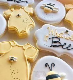 What will it bee cookier, gender reveal cookie, yellow cookies, bee cookies, one. Bee Cookies, Royal Icing Cookies, Sugar Cookies, Onesie Cookies, Gender Reveal Party Decorations, Baby Gender Reveal Party, Bee Gender Reveal, Baby Shower Desserts, Baby Shower Cookies
