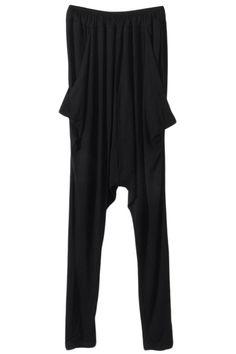 #Romwe Pleated Black Harem Pants