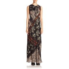 Etro Floral Banded Plaid Silk Scarf Gown (1,854,550 KRW) ❤ liked on Polyvore featuring dresses, gowns, apparel & accessories, black multi, floral dresses, floral evening gown, silk neck ties, neck ties and sleeveless dress