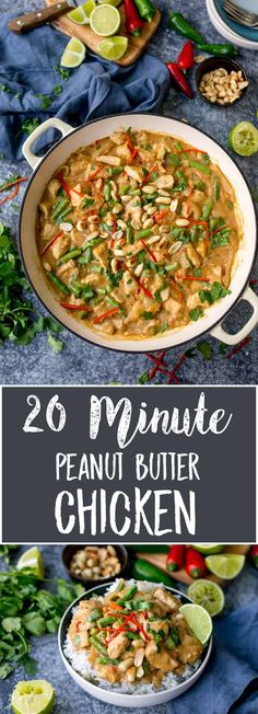My Peanut Butter Chicken is packed full of flavour and ready in 20 minutes! A great mid-week meal, with no fussy ingredients! #peanutbutterchicken #peanutchicken #thaichicken #peanutbutter #quickdinner #glutenfreedinner via @kitchensanc2ary